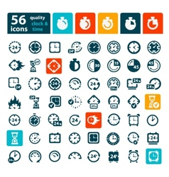 color clock icons set vector image