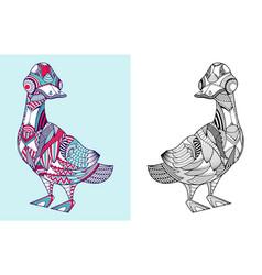 coloring book cute cartoon duck vector image