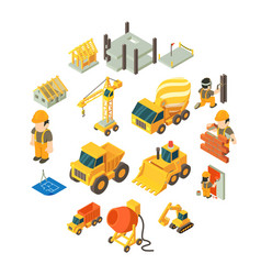 construction building icons set isometric style vector image