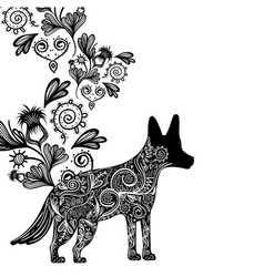 Contour dog animal with ornamental and rustic vector