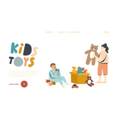 Couple little boy and girl playing with toys vector