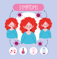 Covid 19 coronavirus infographic sick girl with vector