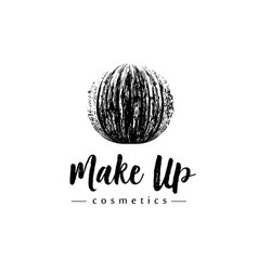 creative make up logo mmascara brush stroke in vector image