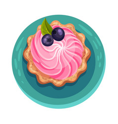 Cupcake or muffin with blueberry as dessert served vector