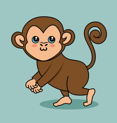 Cute monkey style kawaii vector