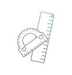 Degraded line protactor and ruler school utensils vector