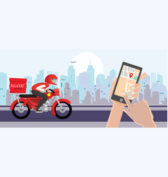 Delivery man ride bike get order hand holding vector