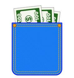 Denim pocket with money vector