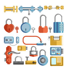 Door locks and padlock latches keys retro vector