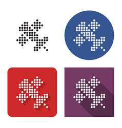 dotted icon satellite in four variants with vector image