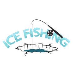 Fishing rod and ice hole underwater vector