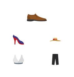 Flat clothes set of elegant headgear pants vector
