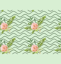 floral summer seamless pattern bouquets pink roses vector image