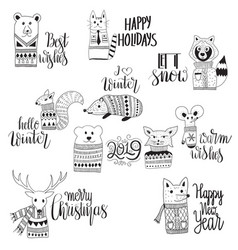 Funny animals wit christmas winter holiday vector