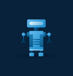 Funny blue robot icon flat robot symbol vector