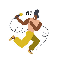 funny singer with a microphone made in doodle vector image