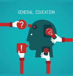 General education and creativity concept in flat vector