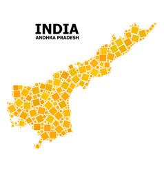 Golden rotated square mosaic map andhra pradesh vector