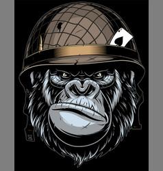 gorilla in military helmet vector image