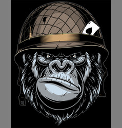 gorilla in the military helmet vector image