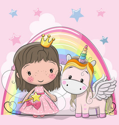 Greeting card with fairy tale princess and unicorn vector