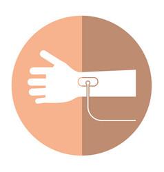 hand transfusion drop shadow vector image
