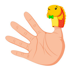 Hand wearing a cute fish finger puppet on thumb vector