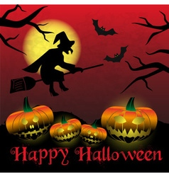 happy halloween carved pumpkins and scary witch vector image