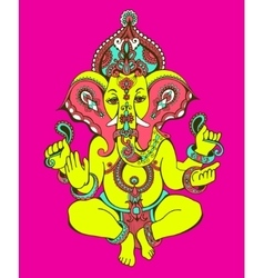Hindu lord ganesha ornate sketch drawing tattoo vector