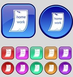 Homework icon sign A set of twelve vintage buttons vector