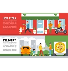 Hot Pizza and Delivery flat concept web vector