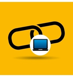 laptop icon chain link social media vector image