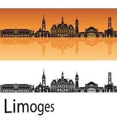 Limoges skyline in orange background vector image