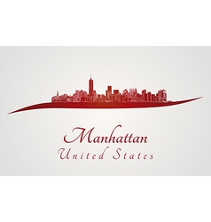 Manhattan skyline in red vector image