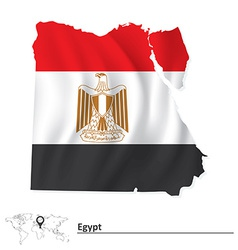 Map of egypt with flag vector