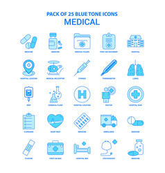 medical blue tone icon pack - 25 icon sets vector image