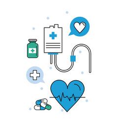 medical elements electrocardiogram vector image