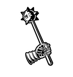 medieval mace black and white graphic vector image