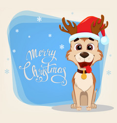 Merry christmas greeting card cute dog wearing vector