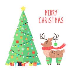 merry christmas greetings from cartoon reindeer vector image
