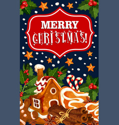 Merry christmas winter cookie greeting card vector