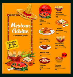 Mexican cuisine menu with lunch offer and prices vector