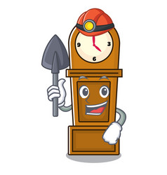 Miner grandfather clock mascot cartoon vector
