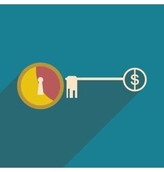 Modern flat icon with shadow key money vector