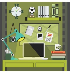 Modern trendy and stylish green working place vector