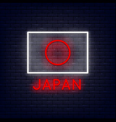neon japan flag vector image