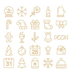 new year icons christmas party elements year vector image