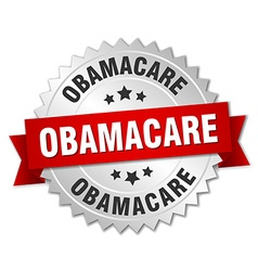 Obamacare 3d silver badge with red ribbon vector