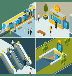 Public subway isometric metro railway escalator vector
