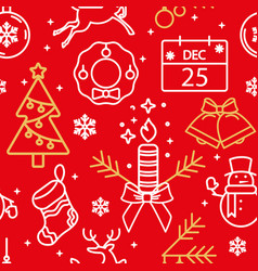 red seamless pattern with christmas symbols icons vector image